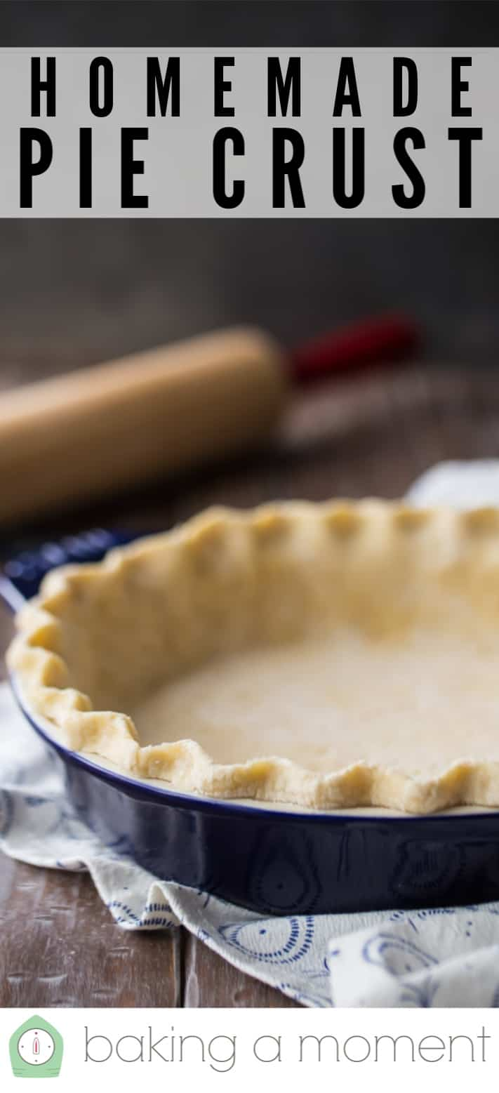 """Pie crust rolled out and placed in a dish, with a rolling pin in the background and a text overlay that reads """"Homemade Pie Crust."""""""