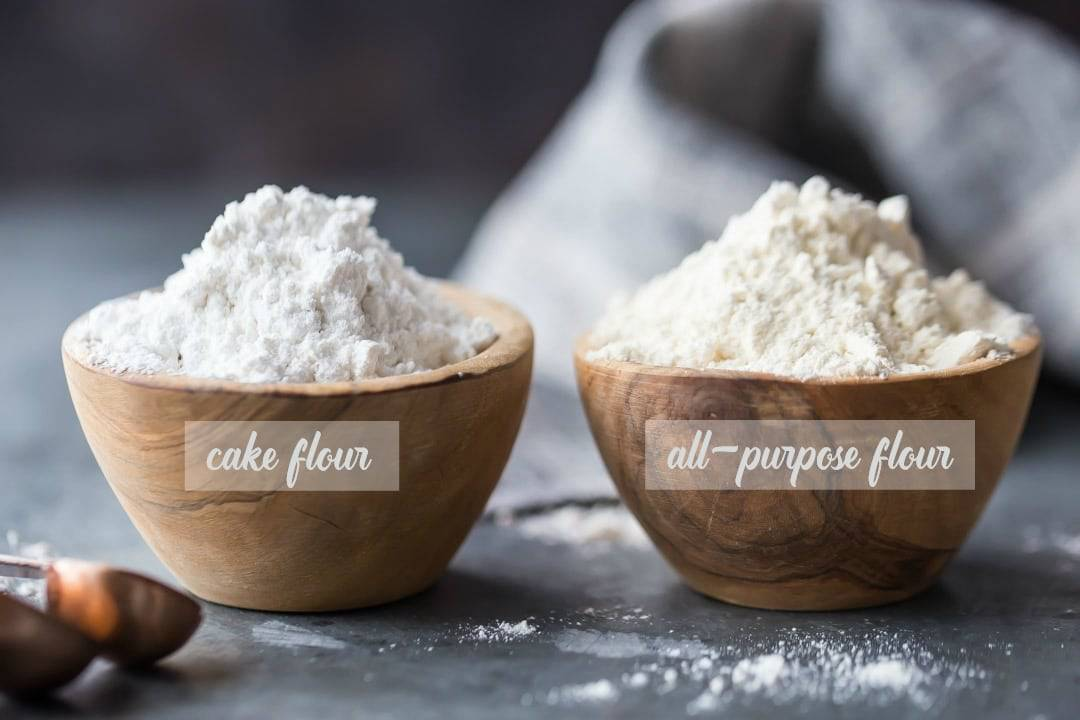 Side-by-side comparison of cake flour and all-purpose flour.
