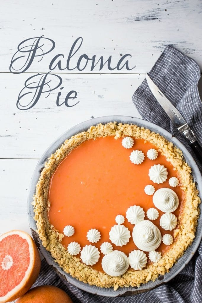 Vertical image with text overlay of Paloma cocktail (grapefruit tequila) pie with Saltine crust.