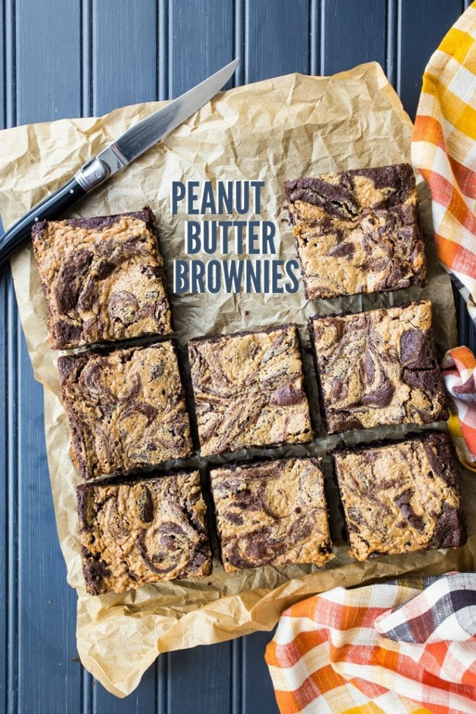 Overhead image of peanut butter swirl brownies with text overlay.