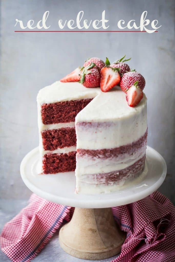 Southern-style red velvet layer cake with homemade cream cheese icing.