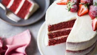Easy classic red velvet cake for Christmas, Valentine's Day, wedding, Fourth of July, or Memorial Day.