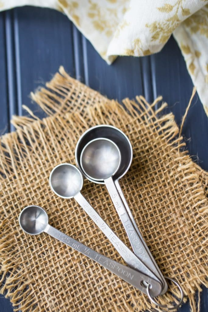 Set of measuring spoons for cooking and baking.