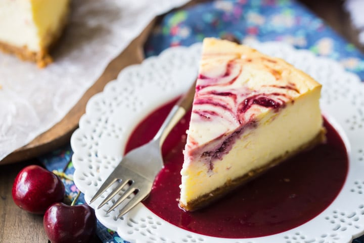 Cherry Swirl Cheesecake with Cherry Sauce