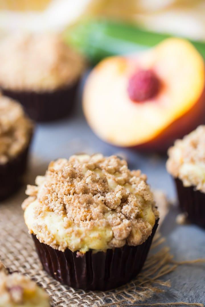 Peach Zucchini Streusel Muffins