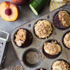 Peach Zucchini Crumb Muffins