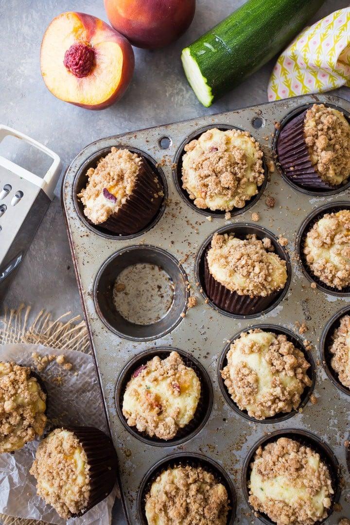 Peach Zucchini Coffee Cake Muffins