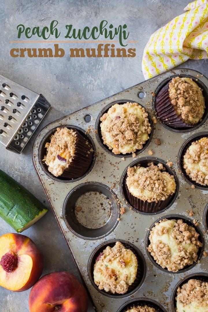 Moist peach zucchini crumb muffins