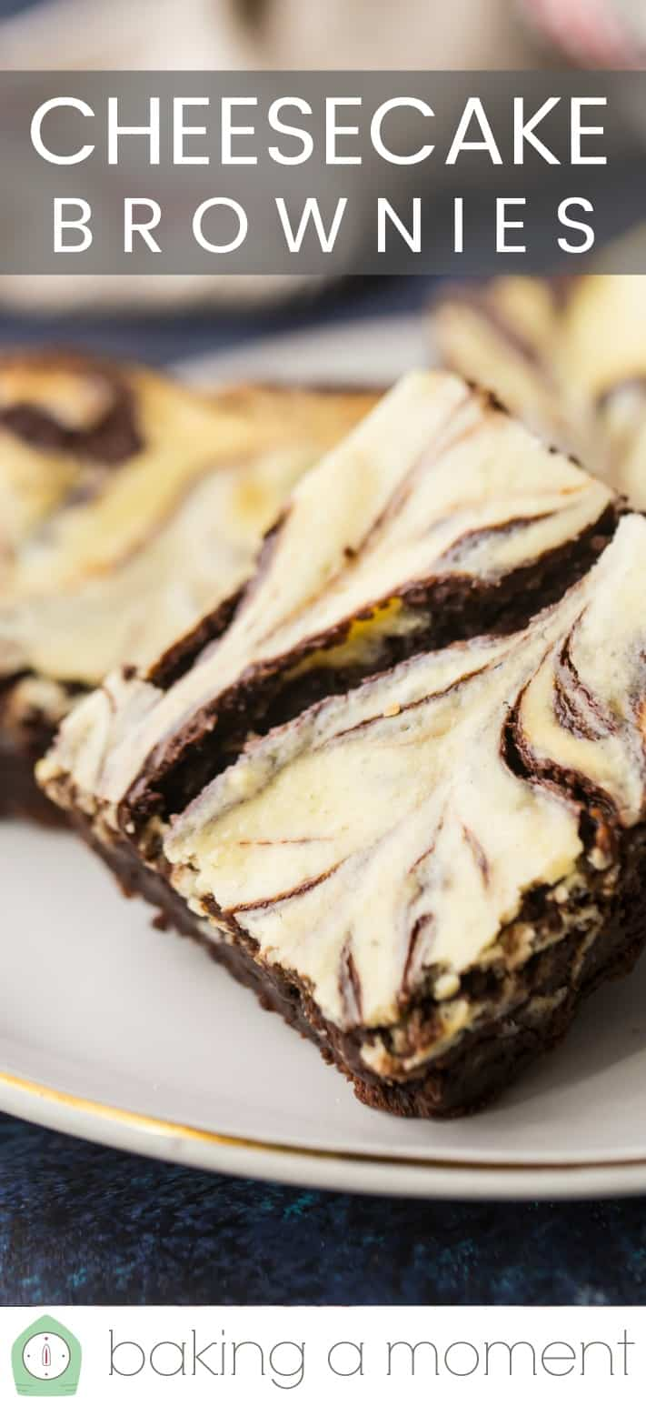 "Close-up image of a cheesecake swirl brownie with a text overlay above reading ""Cheesecake Brownies."""