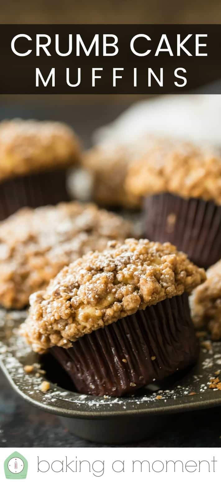 "Close-up image of a batch of crumb cake muffins in a muffin pan, with a text overlay above reading ""Crumb Cake Muffins."""