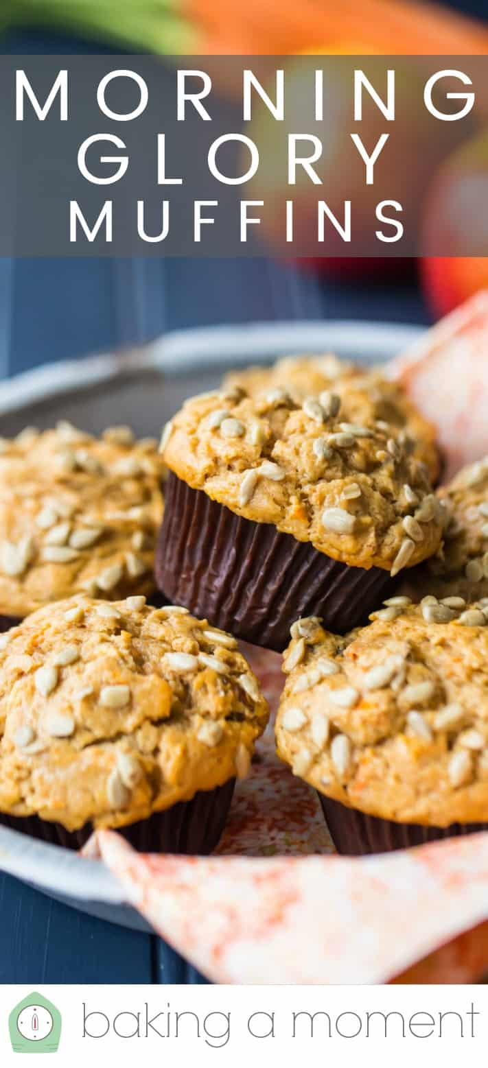 "Close-up image of a batch of morning glory muffins in a baking dish with an orange cloth and a text overlay above reading ""Morning Glory Muffins."""