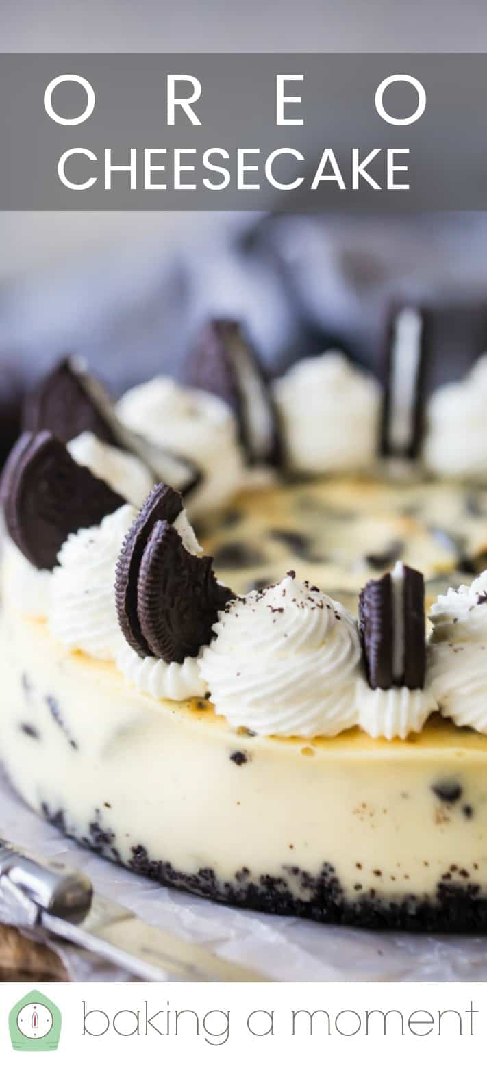 """Close-up image of an Oreo cheesecake with a text overlay above reading """"Oreo Cheesecake."""""""