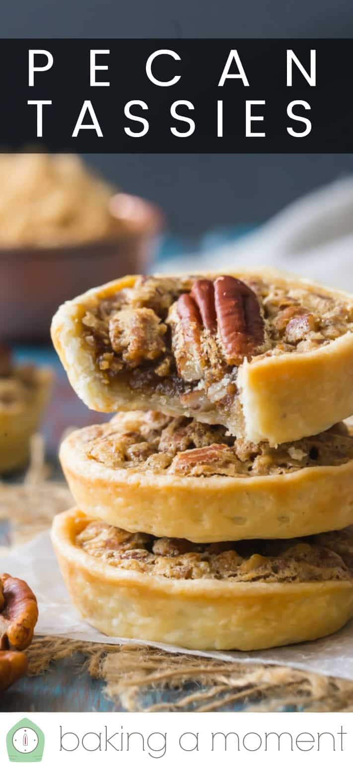 "Close-up image of a stack of classic pecan tassies, with a text overlay above reading ""Pecan Tassies."""
