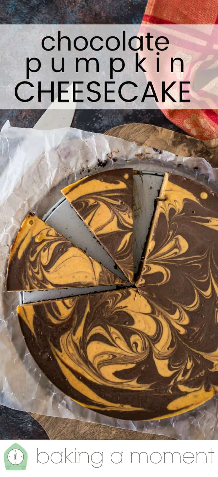 "Overhead image of a chocolate pumpkin swirl cheesecake, with a text overlay above that reads ""Chocolate Pumpkin Cheesecake."""