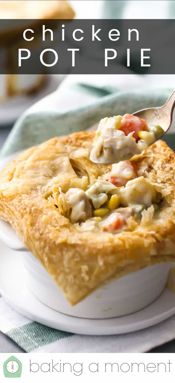 "Close-up image of spooning filling from a pastry-topped chicken pot pie, with a text overlay reading ""Chicken Pot Pie."""