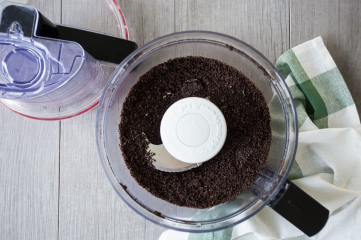 Oreo crumbs ground finely in a food processor.