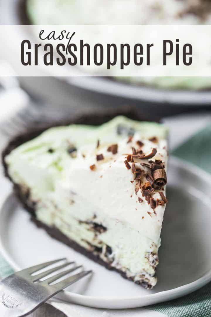 "A slice of grasshopper pie with a text overlay reading ""Easy Grasshopper Pie."""