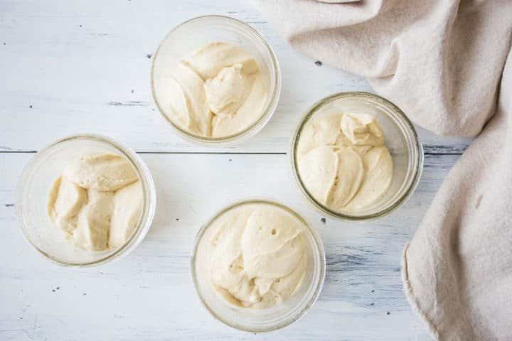 Tres leches cake batter in individual jars.