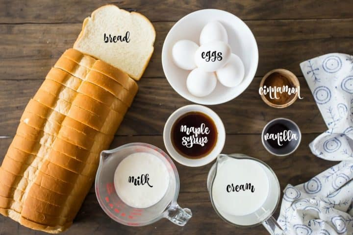 Ingredients for making baked French toast.