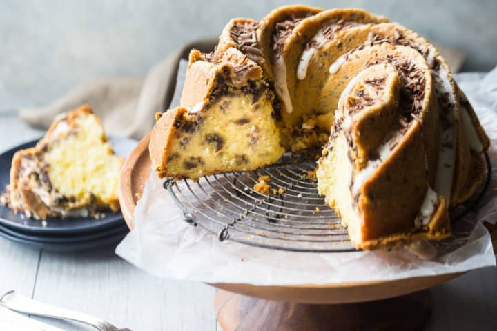Sliced chocolate chip bundt cake.