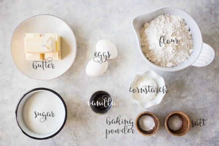 Ingredients for making sugar cookie bars.