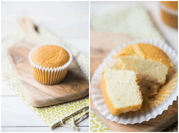 Side-by-side photo collage showing best moist cupcake unfrosted next to a cupcake cut in half, showing the fine, even crumb inside.
