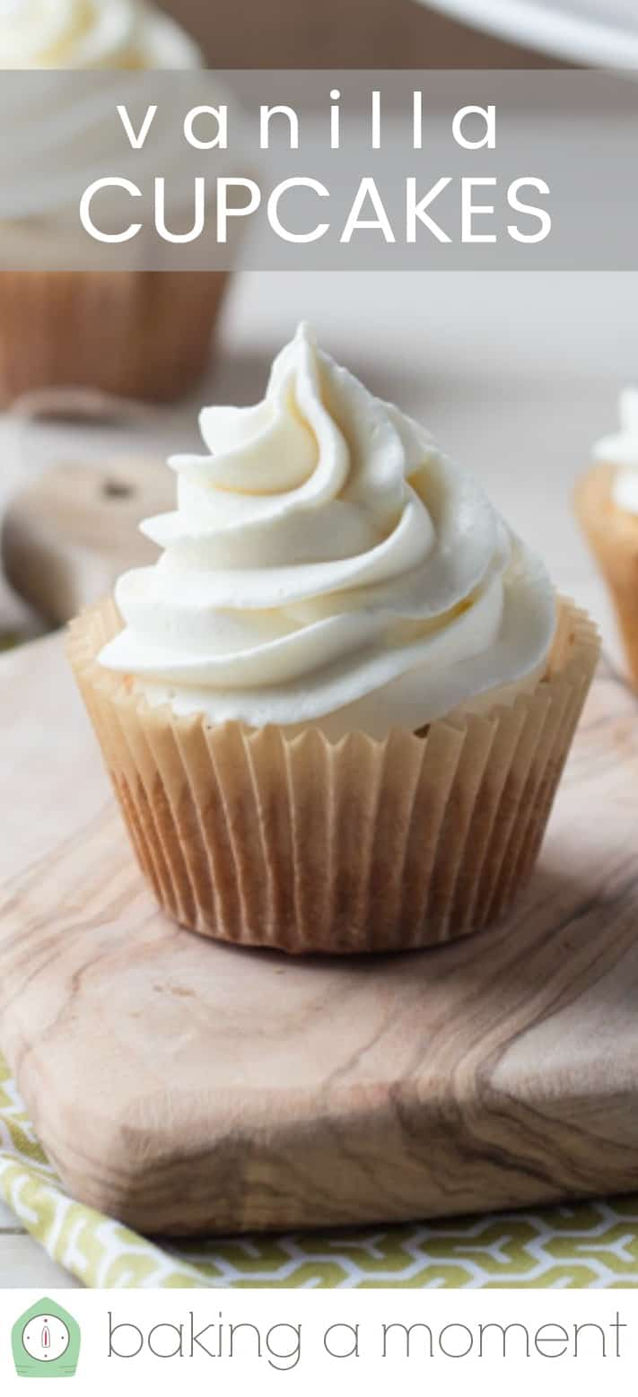 "Close-up image of a vanilla cupcake, with a text overlay reading ""Vanilla Cupcakes."""