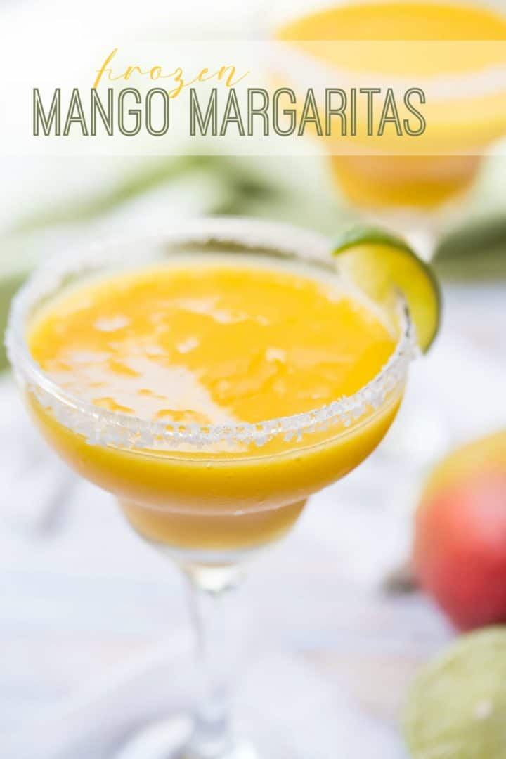 "Frozen mango margaritas in salt-rimmed glasses, with a text overlay reading ""Frozen Mango Margaritas."""