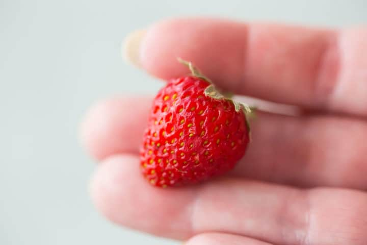 A tiny strawberry held by the fingertips.