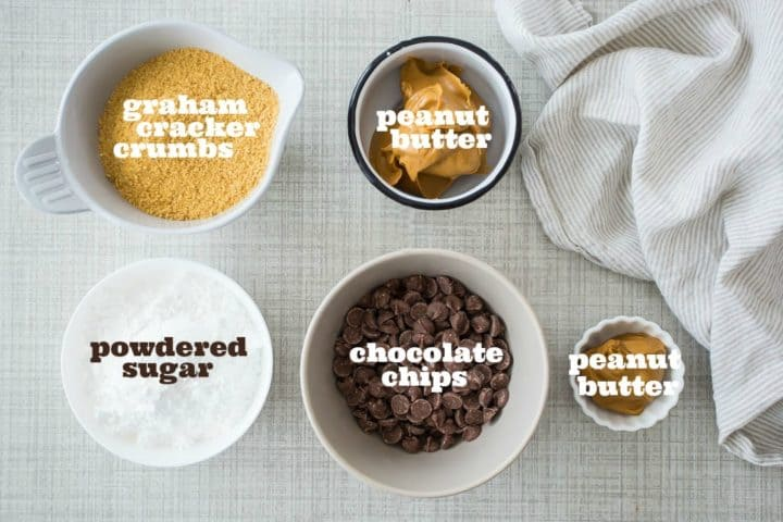 Peanut butter bars ingredients with text labels.