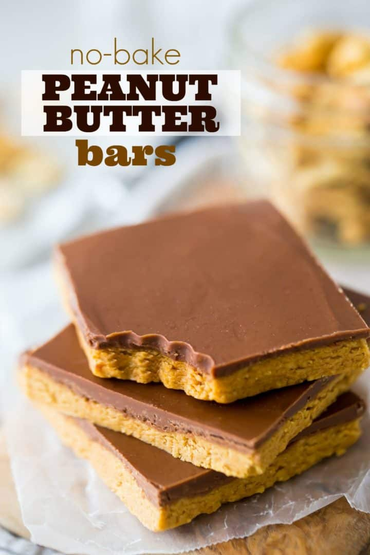 Peanut Butter Bars Easy No Bake 4 Ingredient Recipe Baking A Moment