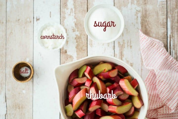 Rhubarb crisp ingredients with text labels.