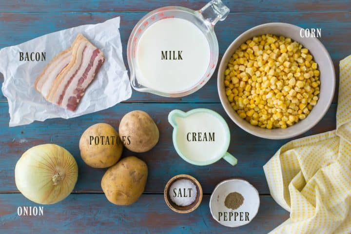 Ingredients needed to make corn chowder, with text labels.