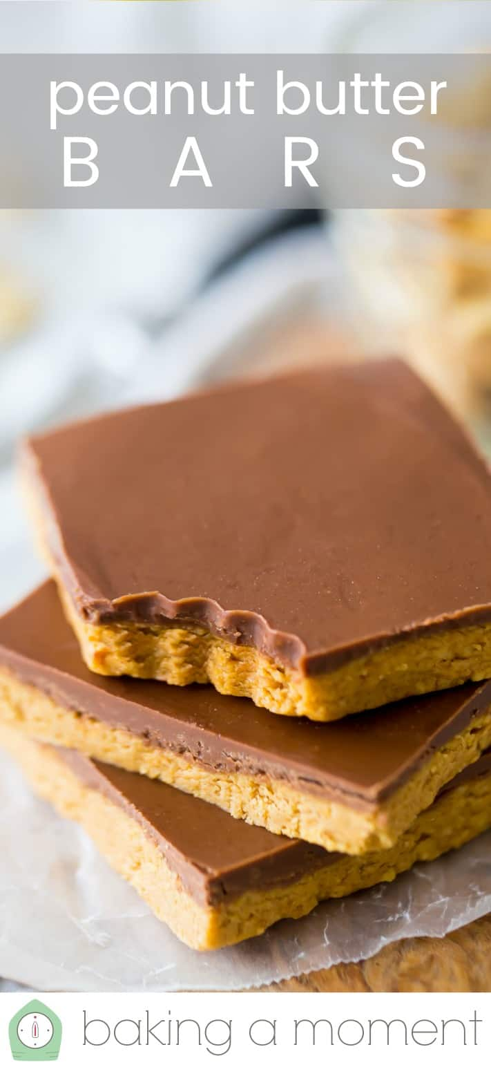 """Stack of peanut butter bars with a text overlay reading """"Peanut Butter Bars."""""""