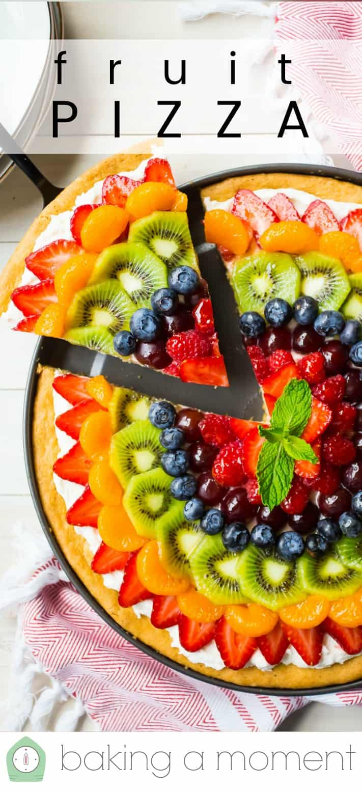 "Overhead image of a rainbow fruit pizza, with a text overlay reading ""Fruit Pizza."""