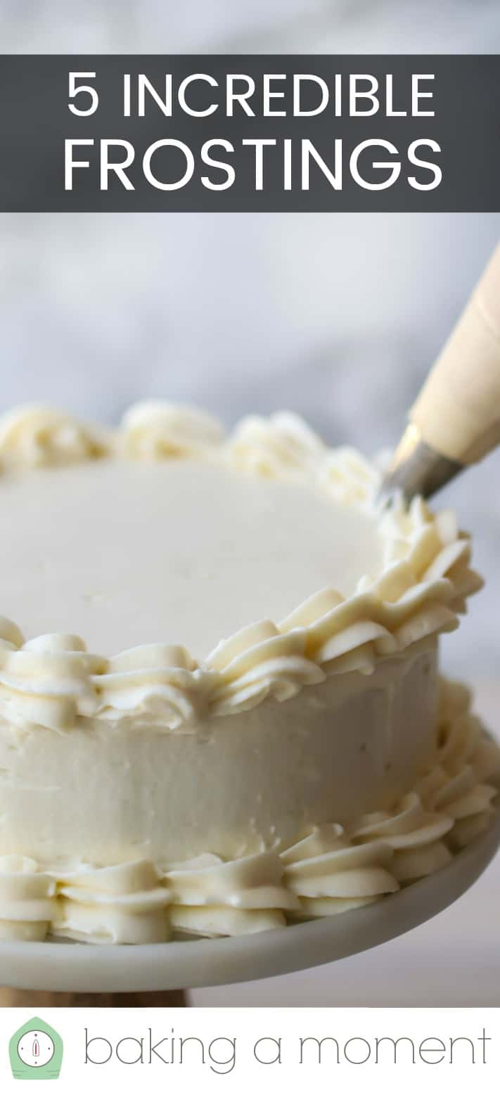 "Close-up image of frosting being piped onto a cake with a text overlay above that reads ""5 Incredible Frostings."""