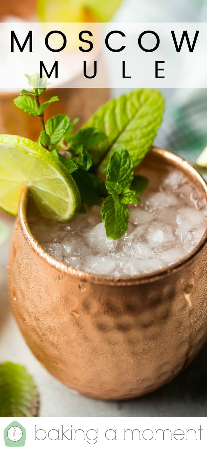 "Close-up image of a Moscow mule drink with a text overlay above that reads ""Moscow Mule."""