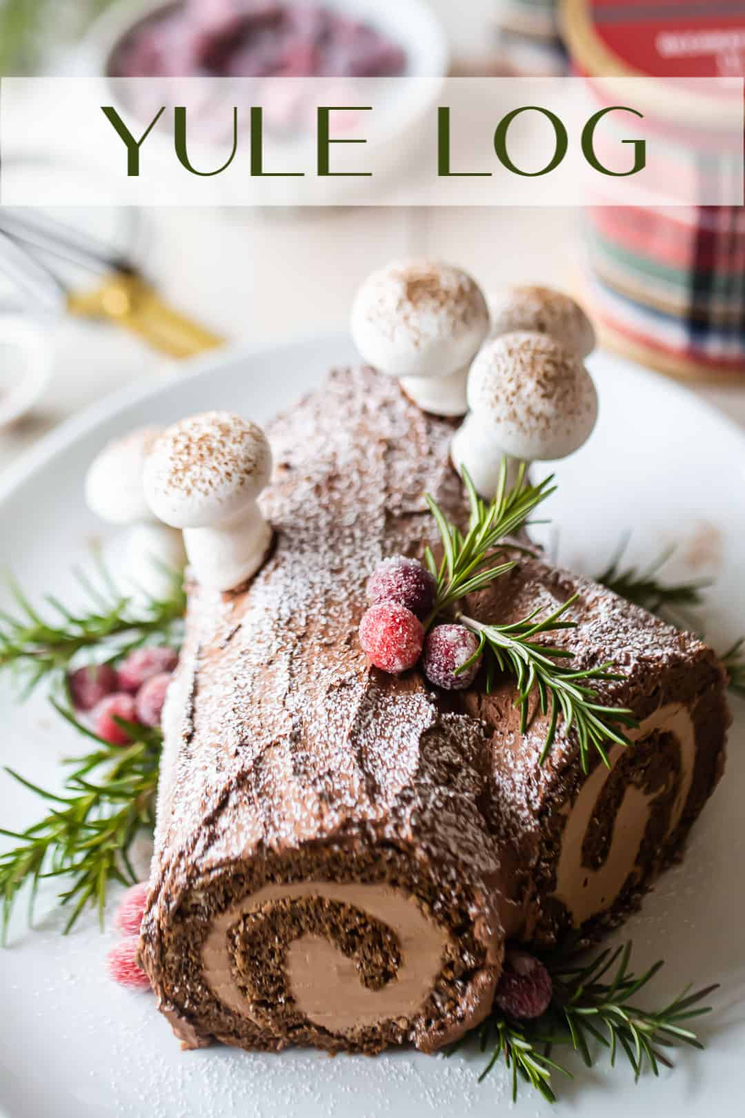 """Buche de Noel cake with powdered sugar and chocolate on a platter with a text overlay above that reads """"Yule Log."""""""