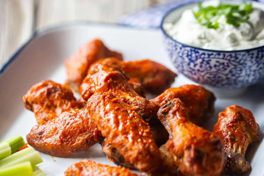 Buffalo wings recipe baked crispy in the oven.