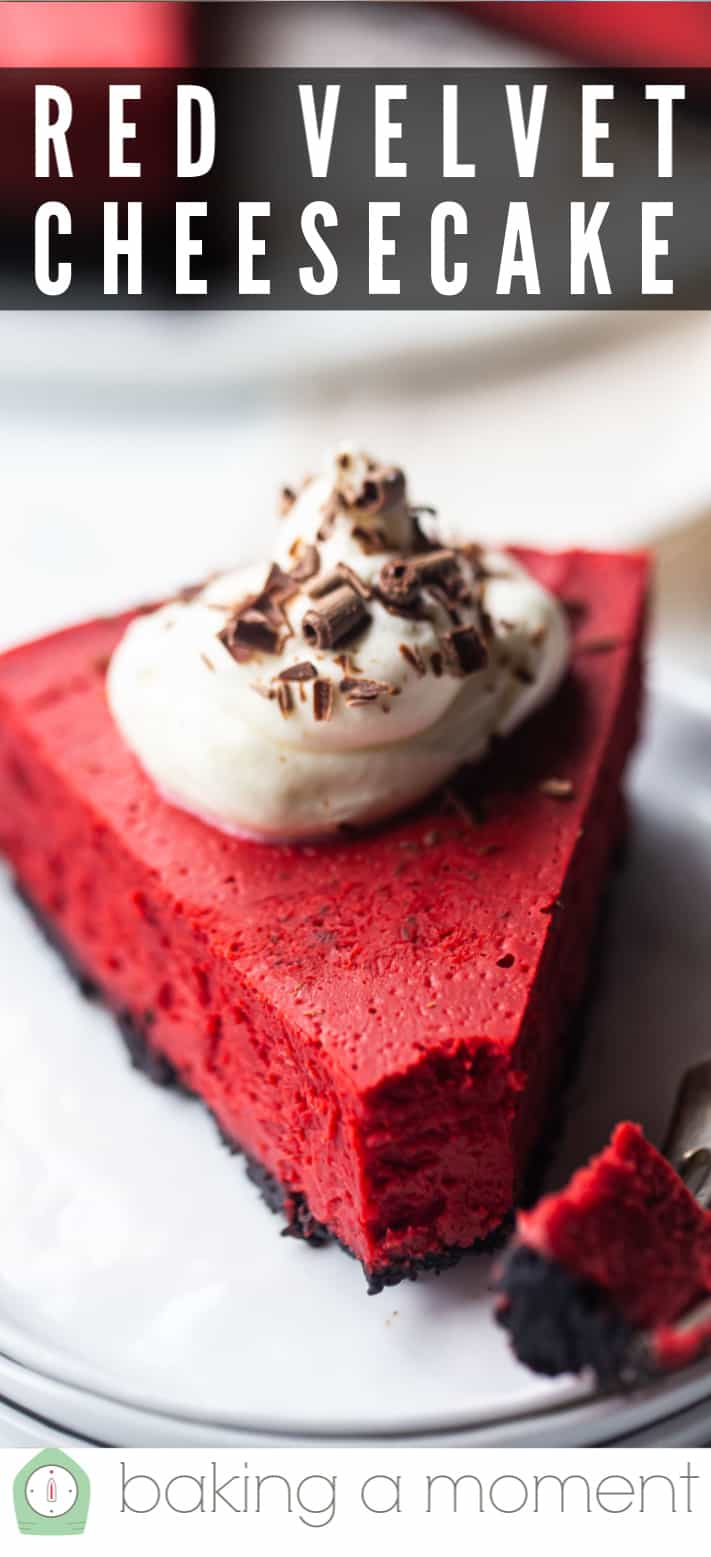 Red velvet cheesecake recipe pin 1.