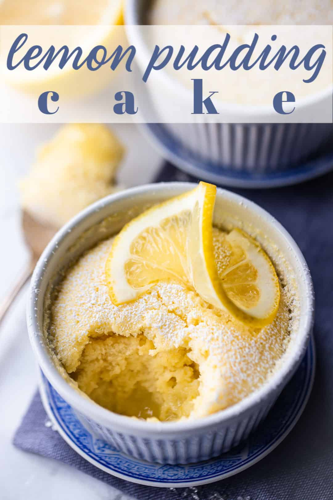 Lemon pudding cake recipe prepared in individual portions, with a fluffy top layer and a gooey sauce on the bottom.