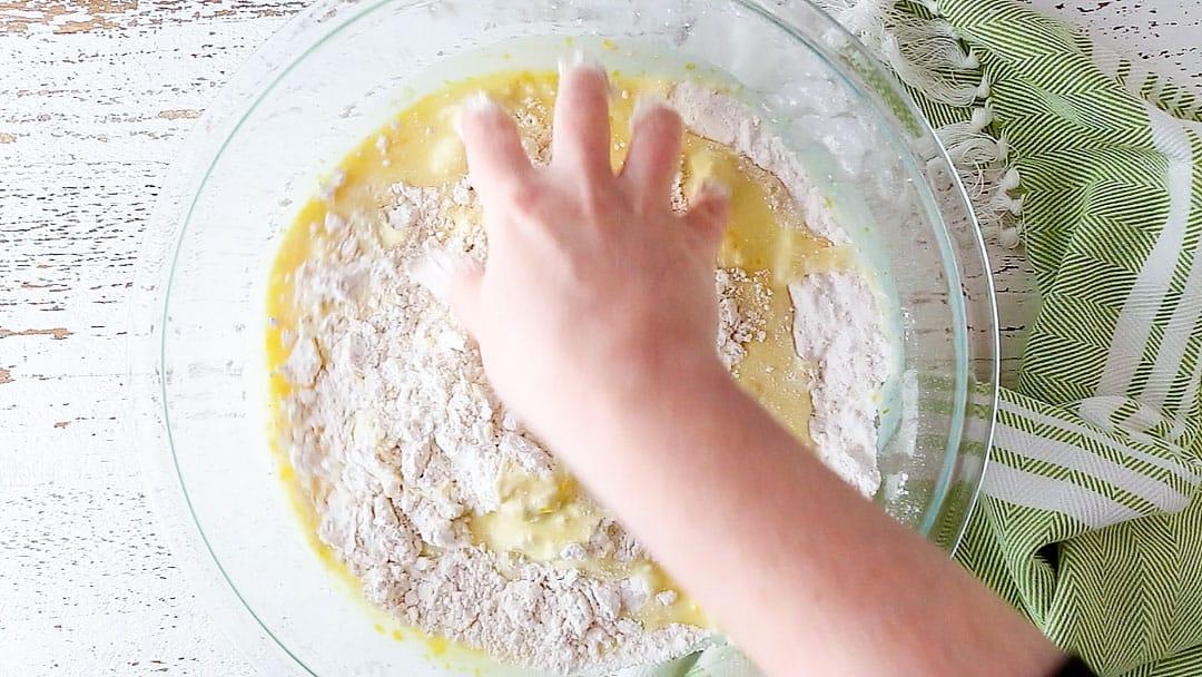 Making Irish scone recipe with clean hands.