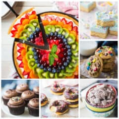 Square photo collage of several easy recipes for kids to make.