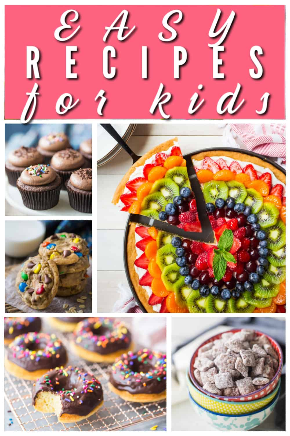 Vertical collage of several fun and easy recipes for kids to make while school is closed.