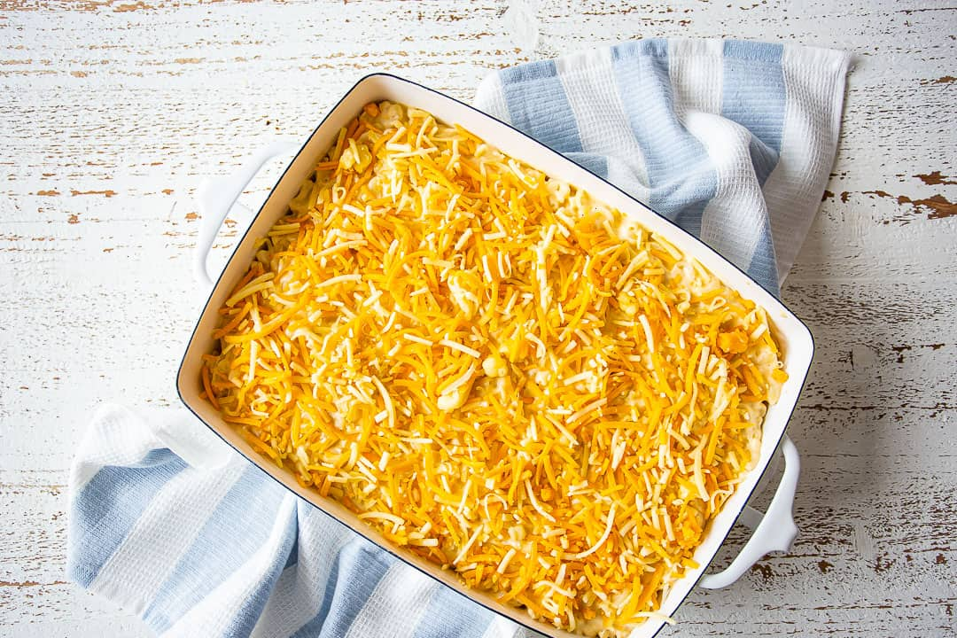 Unbaked macaroni and cheese casserole.