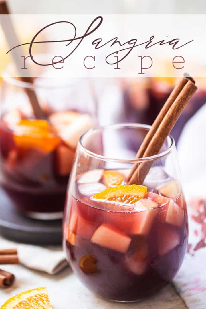 """Sangria recipe, prepared and served in glasses, with a text overlay above that reads """"Sangria Recipe."""""""