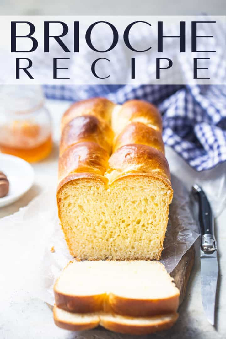"""Brioche loaf presented on a wood board with a text overlay above that reads """"Brioche Bread."""""""