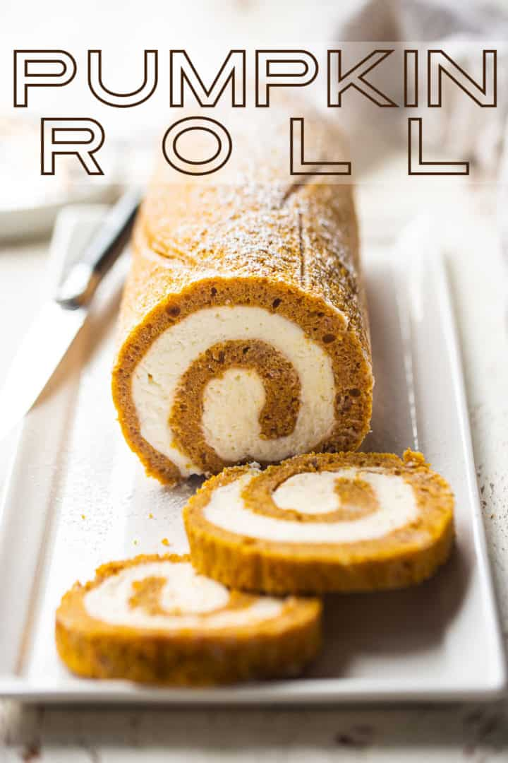 """Pumpkin roll recipe, prepared and served on a white plate, with a text overlay that reads """"Pumpkin Roll."""""""