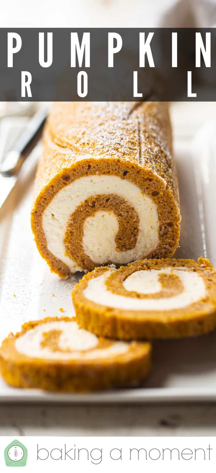 """Close-up image of a pumpkin roll with text above reading """"Pumpkin Roll."""""""