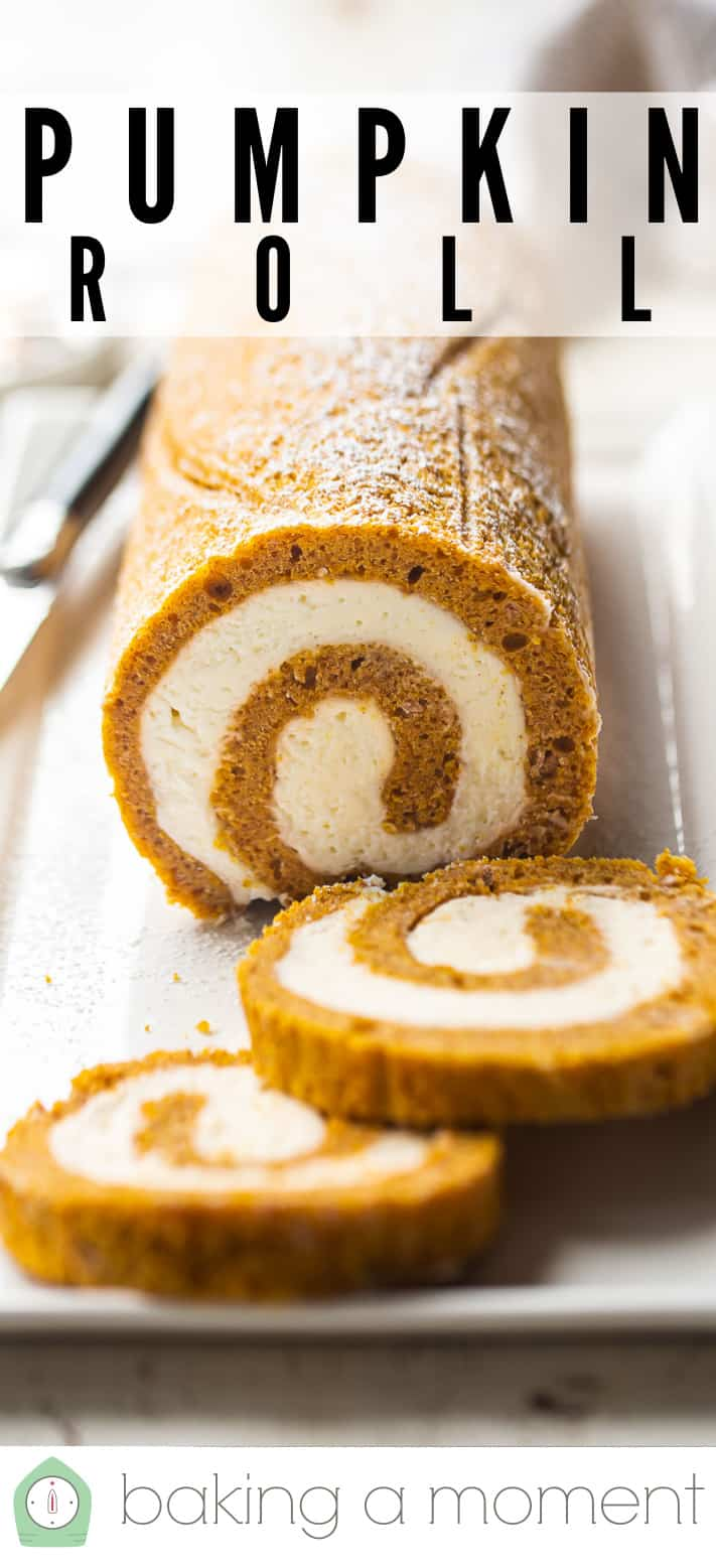 """Close-up image of an easy pumpkin roll with text above reading """"Pumpkin Roll."""""""
